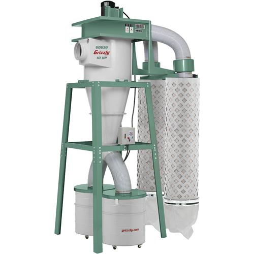 10 hp 3 phase cyclone dust collector grizzly industrial